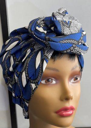 Blue & White African Print Knot Head Wrap Turban