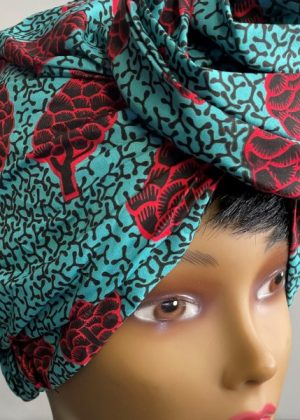Blue Multi-Coloured African Print Knot Head Wrap