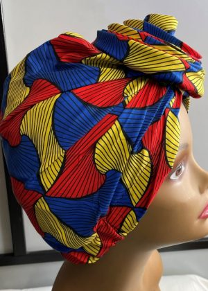 Red Multi-Coloured African Print Knot Head Wrap Turban