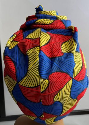 Red Multi-Coloured African Print Knot Head Wrap Turban Back Image