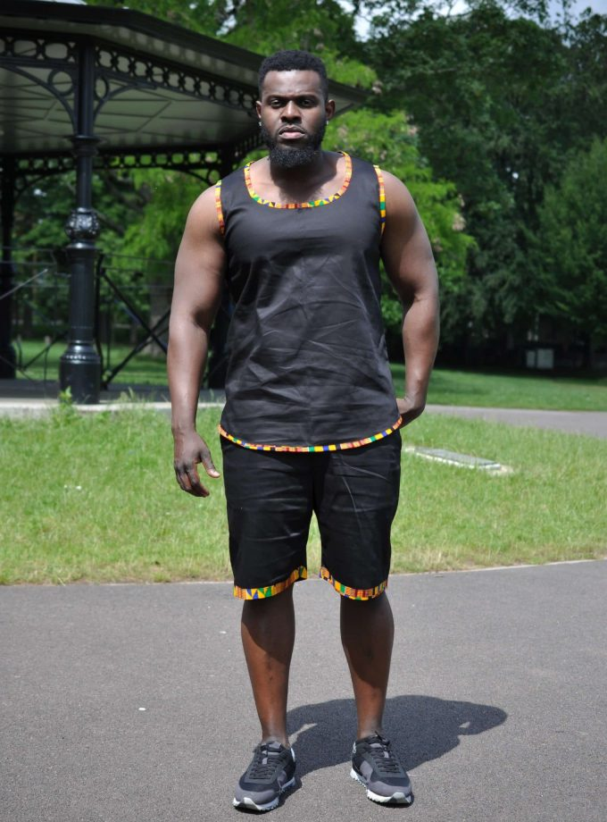 Abasi African Trim Two Piece Short Matching Set Image of Front