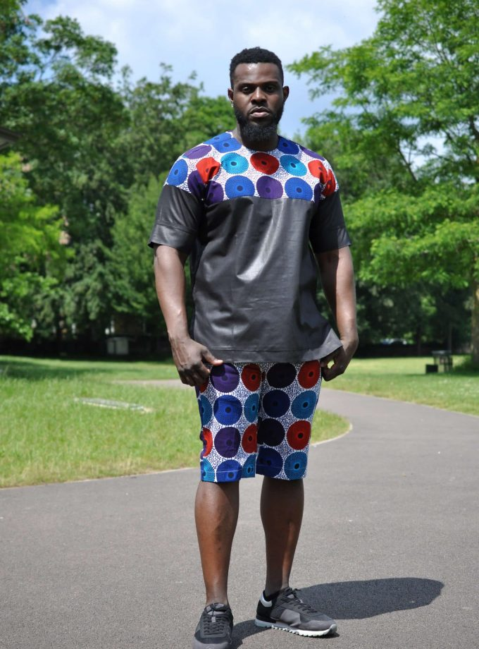 Subra Print Black Short Matching Set / Co-ord from African Clothing Store. SKU: 19246
