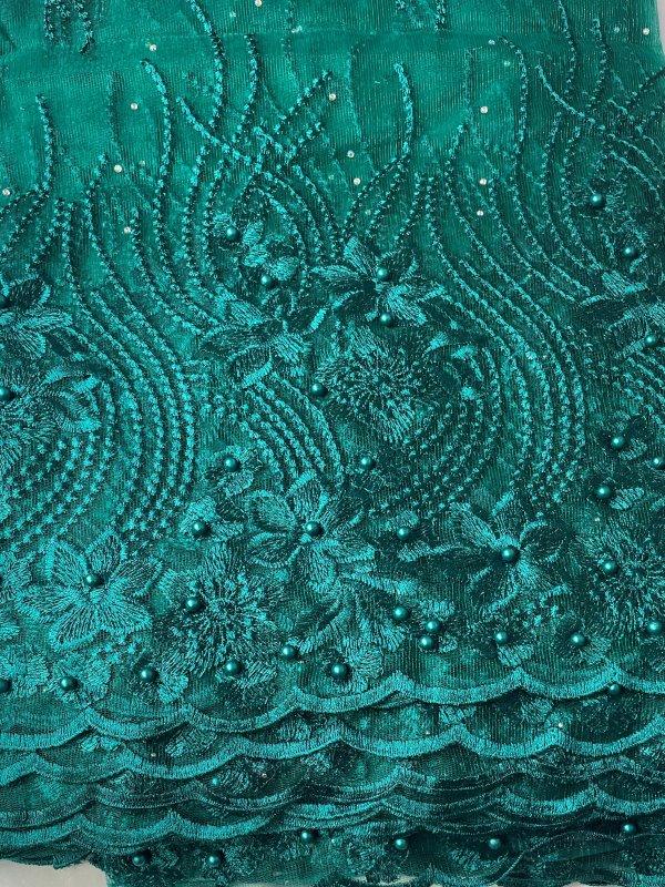 Aqua Green / Teal French Lace Fabric close