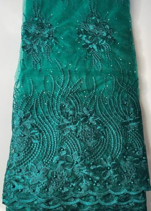 Aqua Green French Lace Fabric front