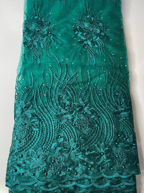 Aqua Green / Teal French Lace Fabric front
