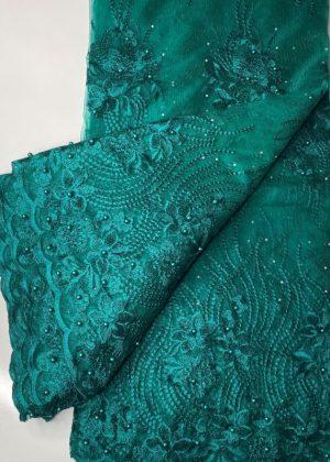 Aqua Green French Lace Fabric thumb