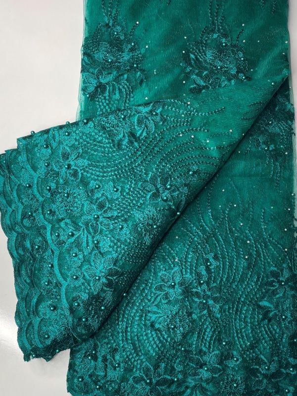 Aqua Green / Teal French Lace Fabric thumb