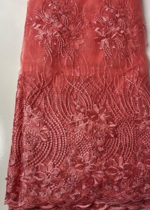 Pink French Lace Fabric front