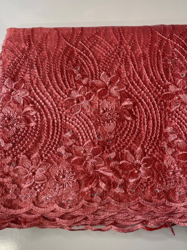 Pink French Lace Fabric side