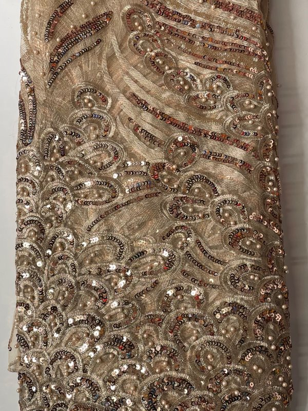 Gold French Lace Fabric