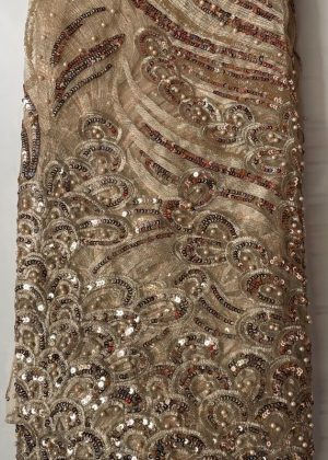 Gold French Lace Fabric yh