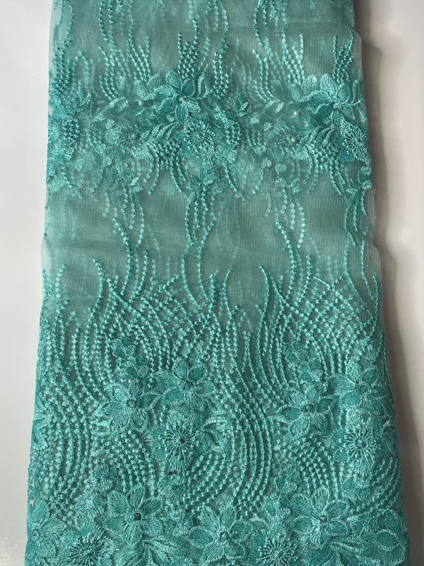 Mint French Lace Fabric far
