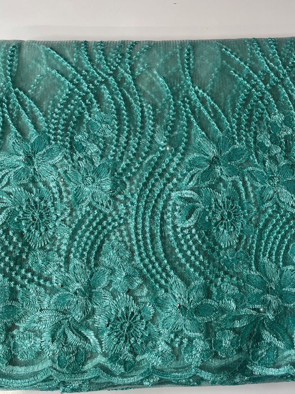 Mint French Lace Fabric close