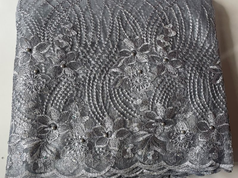 Silver French Lace Fabric