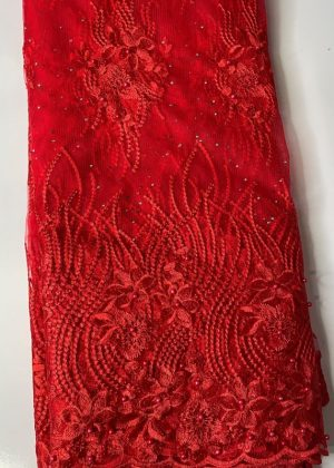 Red French Lace Fabric front
