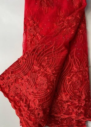 Red French Lace Fabric