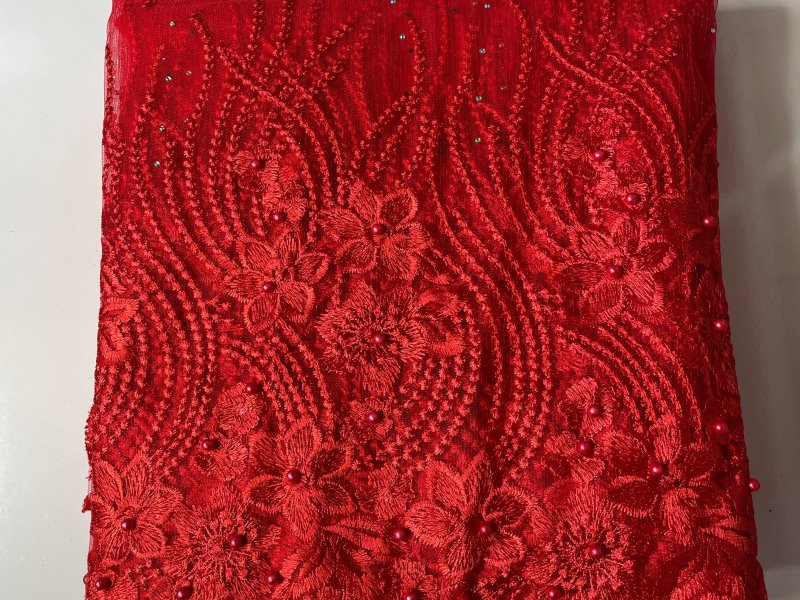 Red French Lace Fabric close