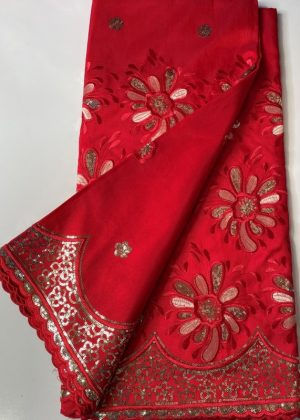 Red Flower French Lace Fabric