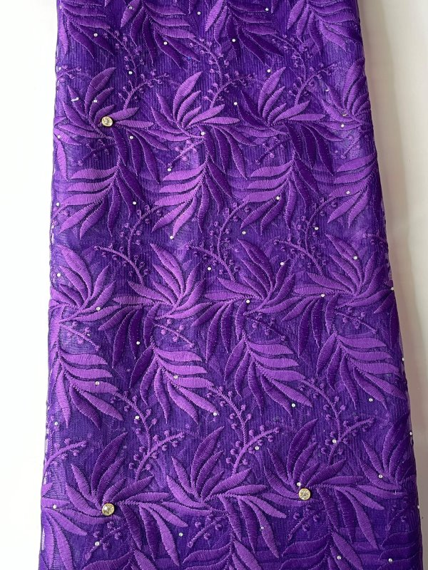 Purple French Lace Fabric far