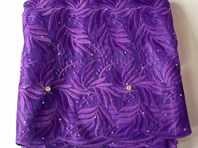 Purple French Lace Fabric close