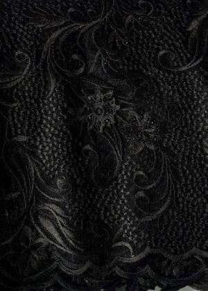 Black French Lace Fabric front