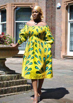 Feather Print Elasticated Midi Dress yellow