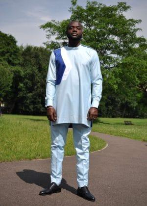 Kwadzo Blue African Men's Suit