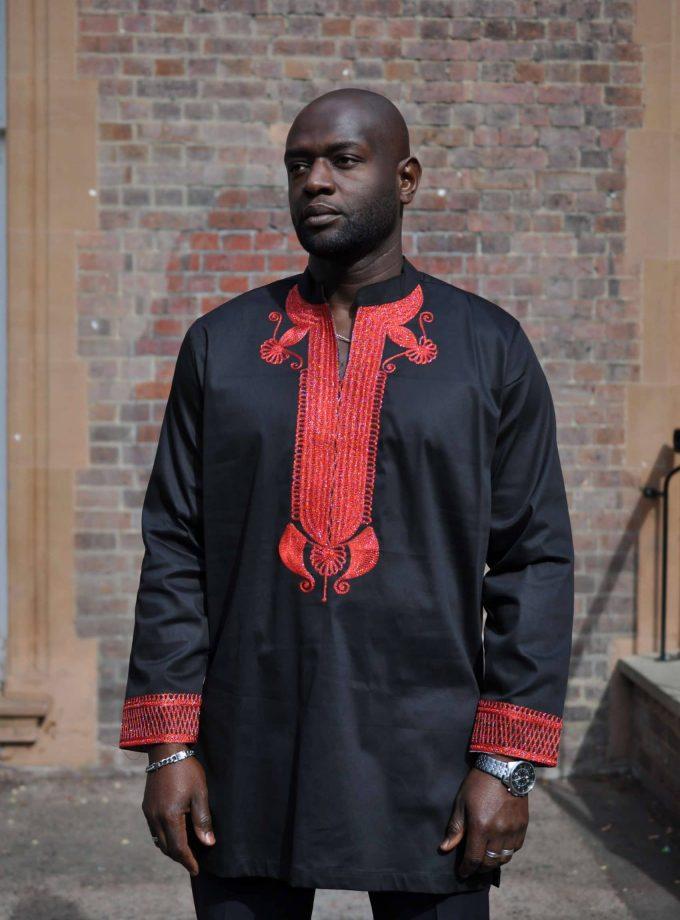 Kodzo Black & Red African Men's Suit