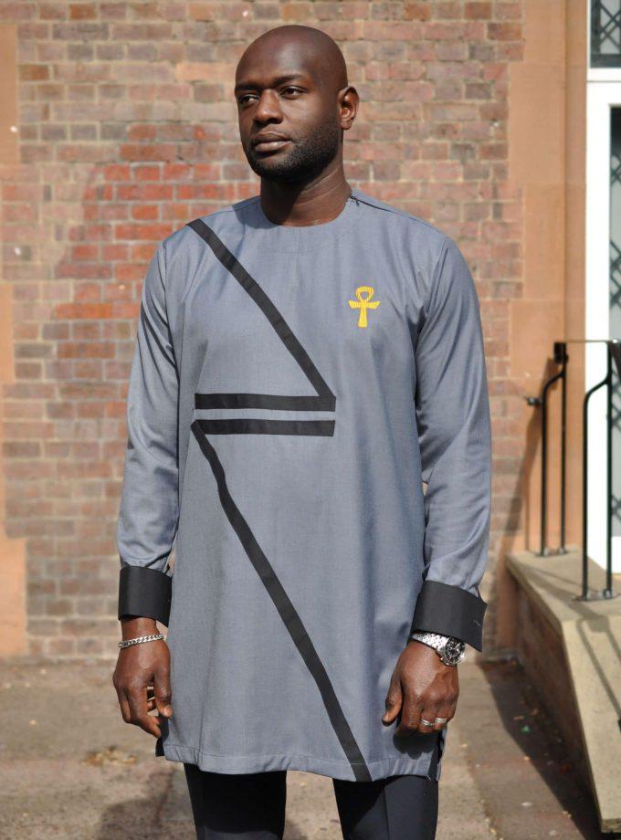 Ankh Grey African Men's Suit black close